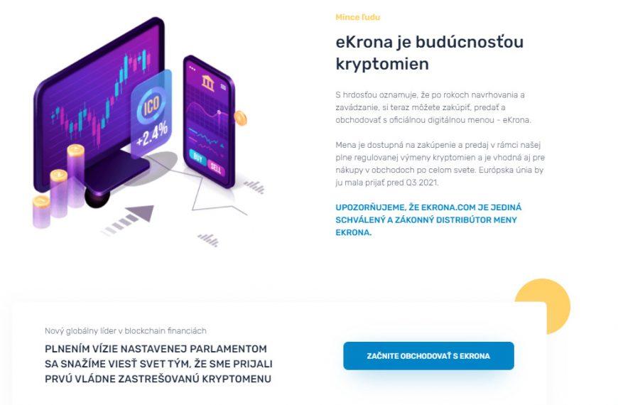 Pozor na stránku ekrona.com, digitálnu európsku menu tam nekúpite, je to podvod